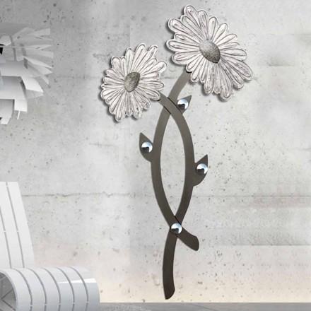 Wieszak ścienny design dekorowany ręcznie w kolorze srebrnym, Clarke