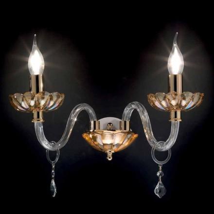 Kinkiet klasyczny 2 ramienny z kryształu i szkła Belle