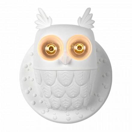 Kinkiet ścienny 2 światła w matowej białej ceramice Nowoczesny design Sowa - Sowa