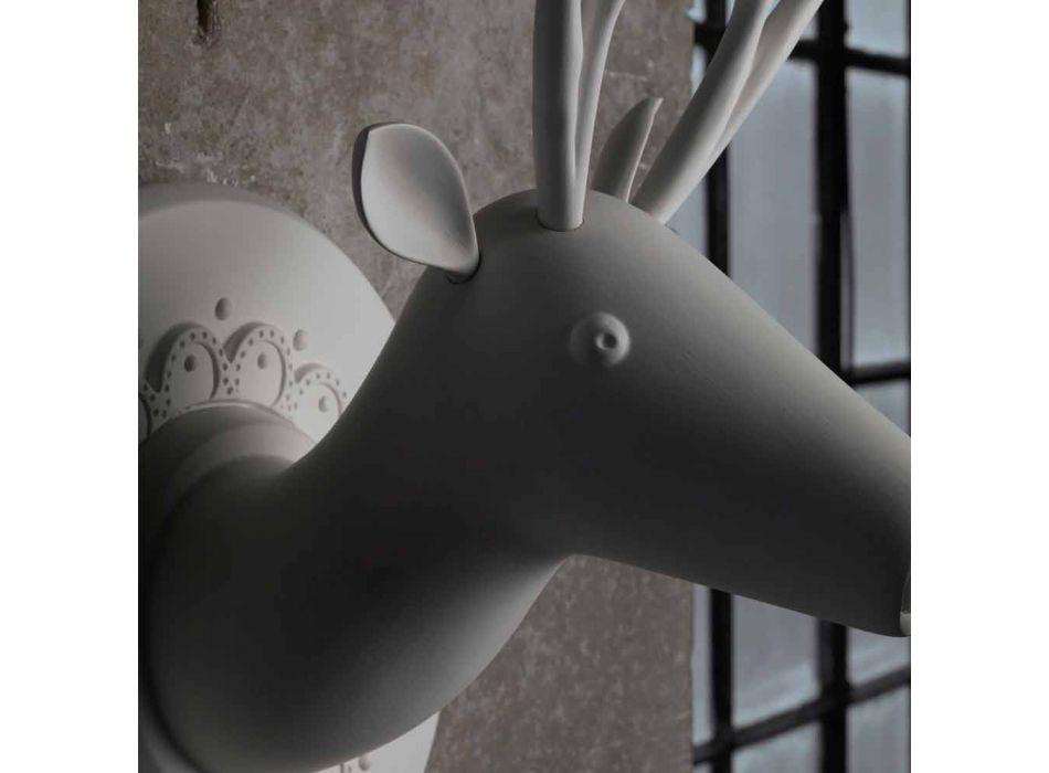 Aplikacja ścienna z matowej białej ceramiki w nowoczesnym stylu w kolorze Cervo - Memento