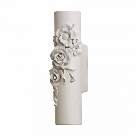 Kinkiet ścienny z matowej białej ceramiki z ozdobnymi kwiatami - rewolucja