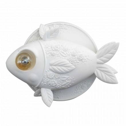 Kinkiet ścienny z matowej białej ceramiki z dekorowaną rybą - rybą