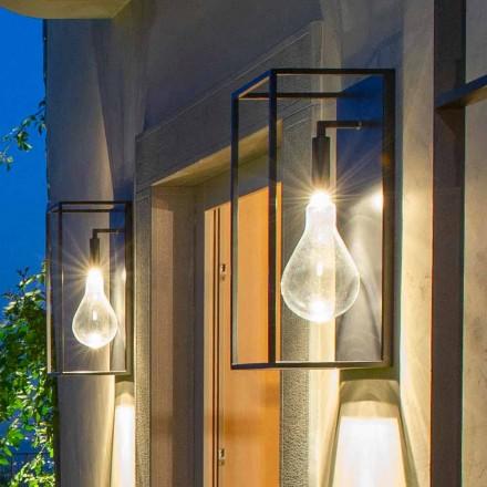 Zewnętrzny kinkiet z żelaza z ciepłym światłem LED i szkłem Made in Italy - Falda