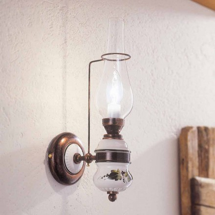Lampa ścienna klasyczna z ceramiki od Ferroluce, dekorowana ręcznie