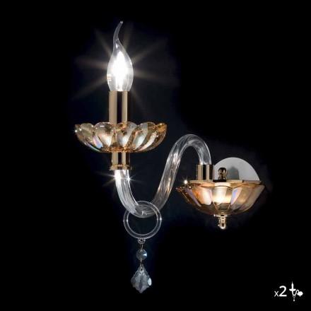 Kinkiet klasyczny z kryształu i szkła Belle, 2 szt