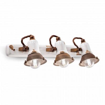 Kinkiet ścienny trzy punktowy ceramiczny model Lacey Ferroluce