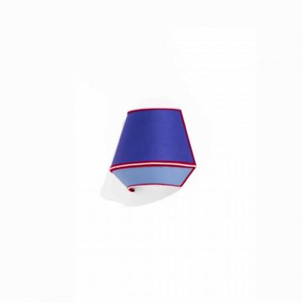Designerska aplikacja z niebieskiej bawełny z czerwonymi i białymi detalami Made in Italy - soja