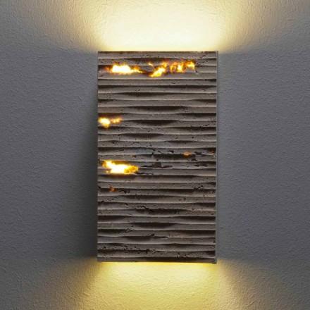 Zewnętrzna kamienna lampa ścienna Serafini Marmi Petra Out, wyprodukowana we Włoszech