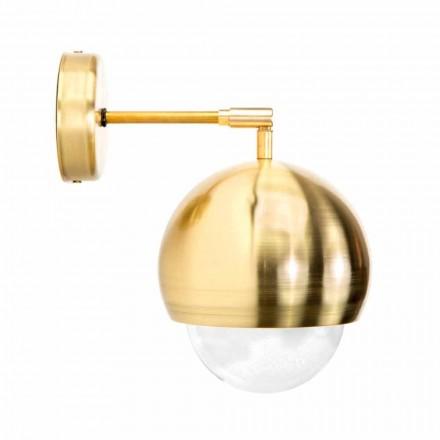 Kinkiet ze szczotkowanego mosiądzu i ręcznie robionego szkła Made in Italy - Gandia