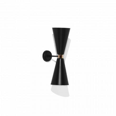 Nowoczesny kinkiet z matową czarną metalową konstrukcją Made in Italy - Zaira