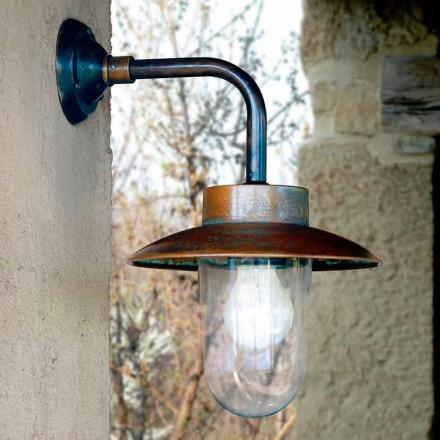 Kinkiet Nabucco, lampa ścienna z miedzi, szkła i mosiądzu