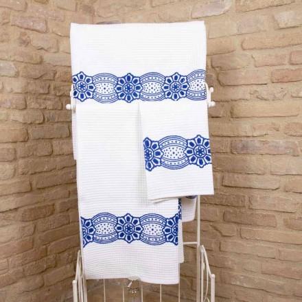 Włoski ręcznik wykonany ręcznie z bawełny - Viadurini od Marchi