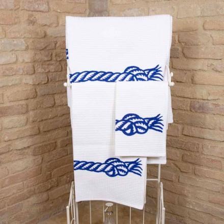 Ręcznie robiony ręcznik z nadrukiem z bawełny Unikalny kawałek Made in Italy