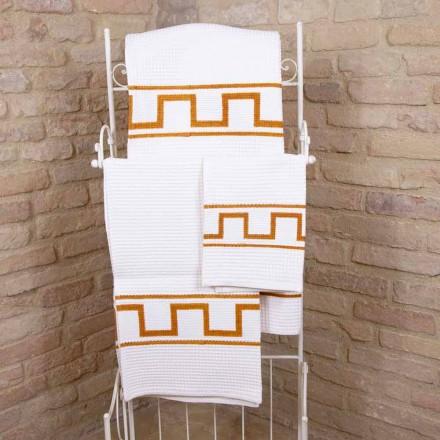 Ręcznik artystyczny ręcznie drukowany w bawełnie Unikalny kawałek włoski - Viadurini od Marchi