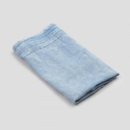 Niebieski ciężki lniany ręcznik do twarzy o luksusowym włoskim designie - jojoba