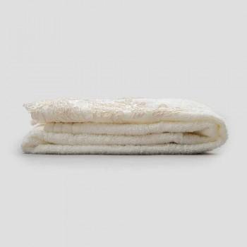 Ręcznik z bawełny frotte z brzegiem z mieszanki koronki i lnu - Ginova