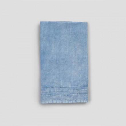 2 niebieskie, grube ręczniki lniane o luksusowym włoskim designie - jojoba