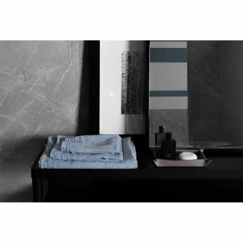 Jasnoniebieski, gruby lniany ręcznik dla gości Luksusowy włoski design - Jojoba