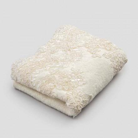 2 bawełniane ręczniki frotte dla gości i mieszanka koronkowej lnu - Ginova