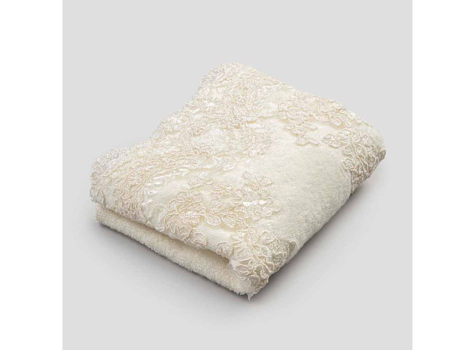 Ręcznik dla gości z frotte z mieszanki bawełny i lnu z koronką - Ginova