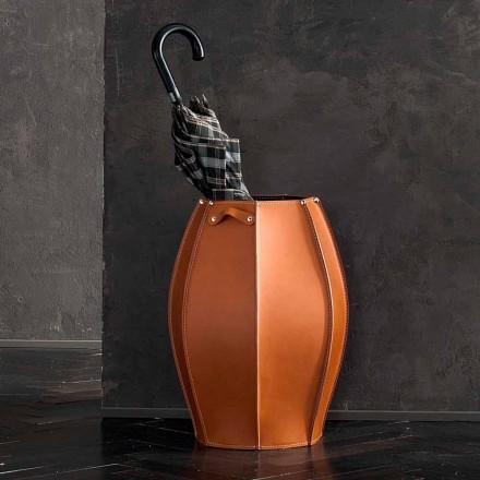 Stojak na parasole Audrey z nowoczesnym designem ze skóry, wyprodukowany we Włoszech