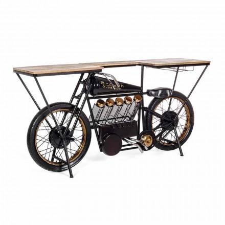 Konsola o nowoczesnym designie z drewna mango i stali motocyklowej - szalotka