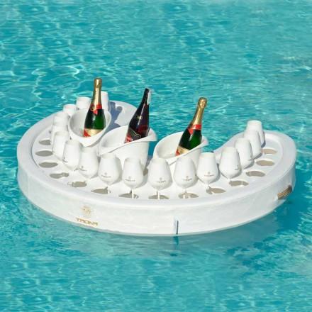 Trona bar pływający design skóra nautyczna i pleksiglas, biały