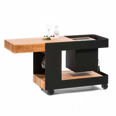 Nowoczesny mobilny pasek na kółkach ze stołem drewnianym i stalowym - Giancalliope