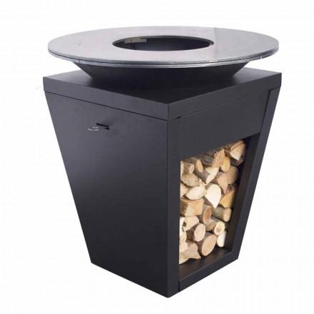 Opalany drewnem grill z płytą kuchenną i komorą na drewno - Ferran