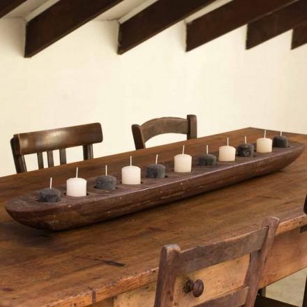 Woskowana łódź ze światłami w kolorze brązowym lub kości słoniowej, w tym Made in Italy - Ludvig