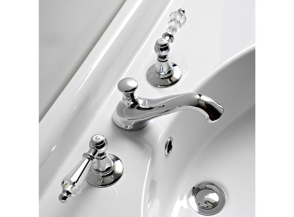 3-otworowa bateria umywalkowa z klasycznymi dźwigniami z ręcznie wykonanego mosiądzu - Noriana