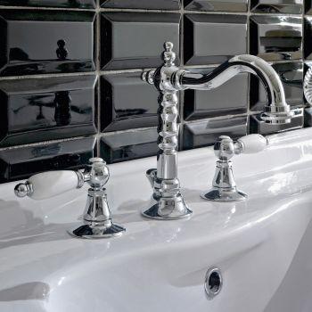 Bateria umywalkowa 3-otworowa z mosiężnym odpływem w klasycznym stylu rzemieślniczym - Noriana