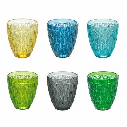 Kolorowe szklane szklanki do wody z dekoracją w liście, 12 sztuk - Indonezja