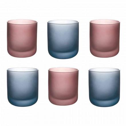 Kolorowe szklanki do wody z matowego szkła z efektem lodu, 12 sztuk - Norvegio
