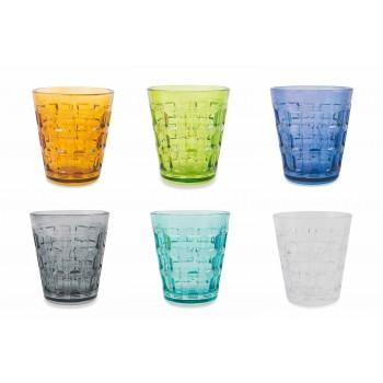 6 kolorowych serwisów Kolorowe szklane szklanki do wody - Interweaving