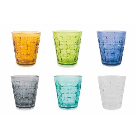 12 kolorowych serwisów Kolorowe szklane szklanki do wody - Interweaving