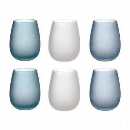 Szklanki do wody z kolorowego matowego szkła Kompletny serwis 12 sztuk - jesień