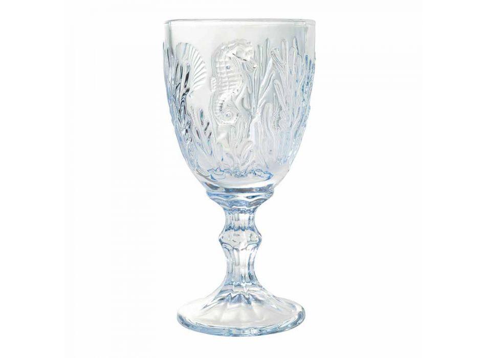 Kieliszki Do wina lub wody Kolorowe szkło Marine Decor 12 sztuk - Mazara