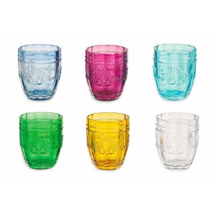 Kolorowe i eleganckie szklanki w szkle Serwis 12 sztuk na wodę - Śruba