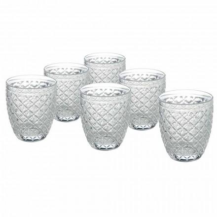 Przezroczyste szklane szklanki do wody z rzeźbionymi dekoracjami 12 sztuk - Rocca