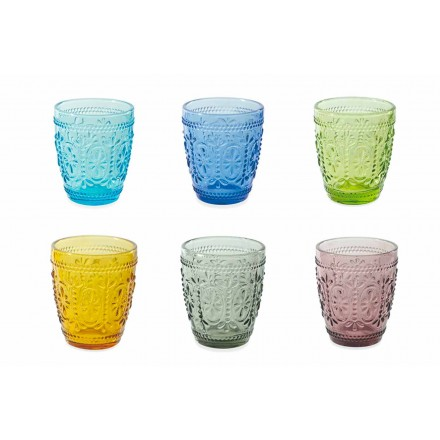Zestaw do wody zdobione i kolorowe szklanki 12 sztuk - Pastel-Palazzo