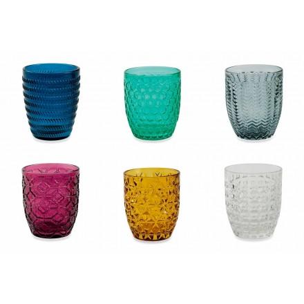 Nowoczesne szklanki zdobione kolorowymi szklankami do serwowania wody 12 sztuk - Mix