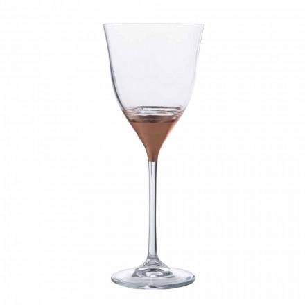 Kryształowy kielich na wodę z dekoracją z brązu, złota lub platyny 12 sztuk - Soffio
