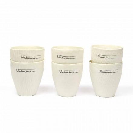 Luksusowe wzornictwo białych porcelanowych szklanek 6 unikalnych elementów - Arcireale