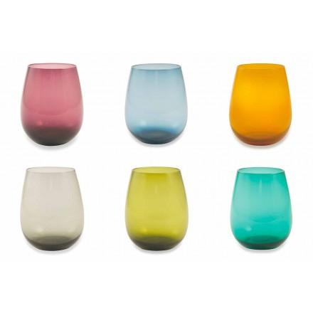 Kolorowe szklane szklanki do wody Nowoczesne usługi 12 sztuk - Aperi