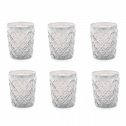 Przezroczyste szklane okulary z dekoracjami, 12-częściowy serwis wodny - Maroko
