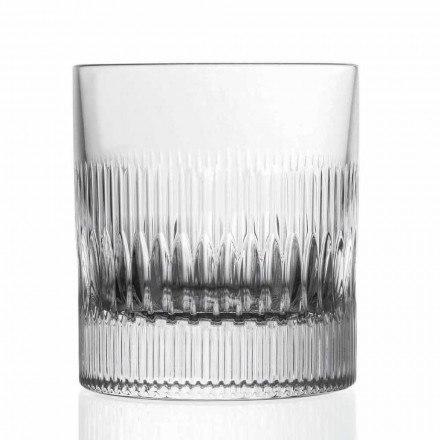 Kryształowe szklanki do whisky i wody 12 sztuk wystrój w stylu vintage - dotykowe