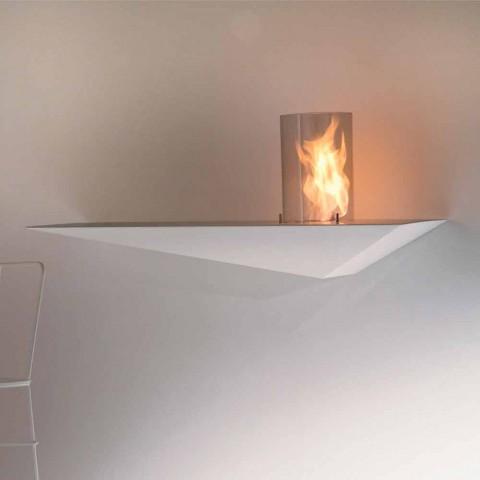 Biokominek ścienny o nowoczesnym designie z malowanej stali i szkła - Malcolm
