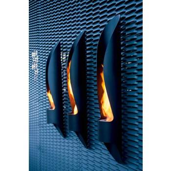 Biokominek ścienny o rurowym i nowoczesnym designie z czarnej stali - Jackson