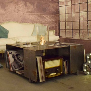 Biokominek podłogowy i nowoczesny stolik kawowy ze stali - Christopher